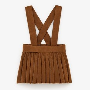 Zara girls knit suspender skirt toffee tan color